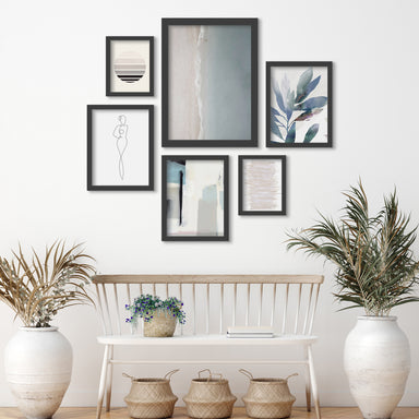 Aerial Beach - 6 Piece Framed Gallery Wall Set - Art Set - Americanflat