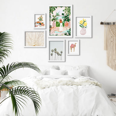 Botanical Boho Girl- 6 Piece Framed Gallery Wall Set - Art Set - Americanflat