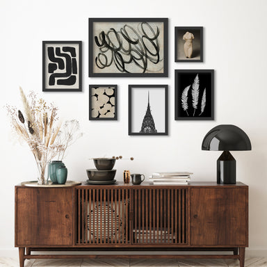 Monochromatic Ink Maze - 6 Piece Framed Gallery Wall Set - Art Set - Americanflat