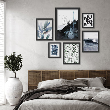 Blue Monochrome Botanical Watercolor- 6 Piece Framed Gallery Wall Set - Art Set - Americanflat