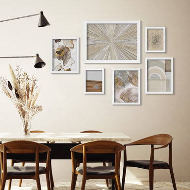 Abstract Shimmering Light - 6 Piece Framed Gallery Wall Set - Art Set - Americanflat