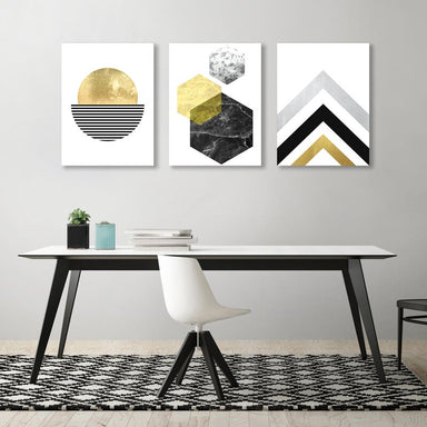 Modern Geometric Abstract Framed Art Set - Wrapped Canvas - Americanflat