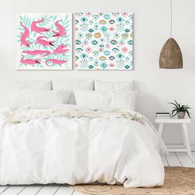 Pink Turquoise Alligator Collection by Cat Coquillette - 2 Piece Gallery Wrapped Canvas Set - Art Set - Americanflat