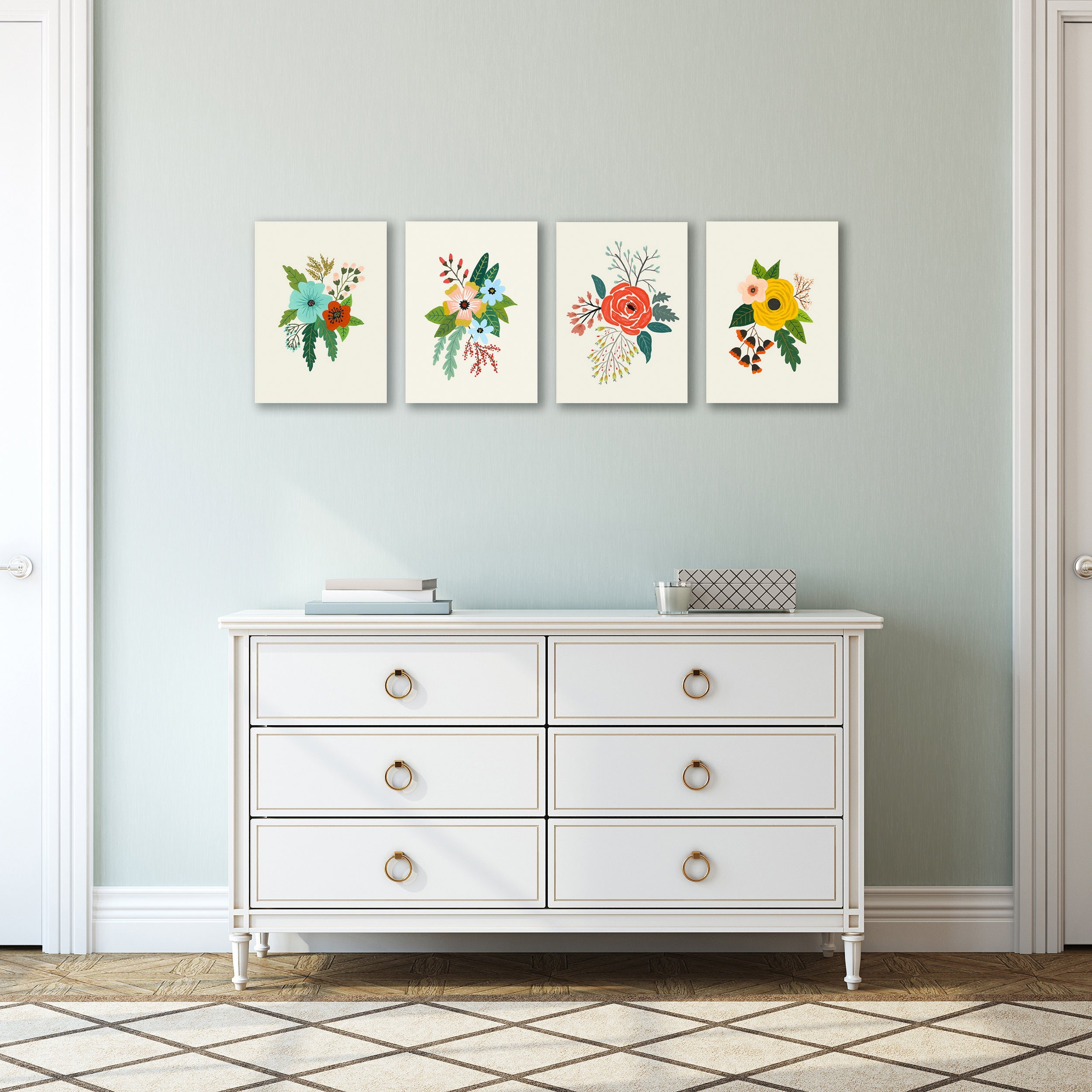 Folk Art Flowers by Annie Bailey - 4 Piece Wrapped Canvas Gallery Wall Set - Wrapped Canvas - Americanflat