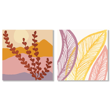 Mountain View by Modern Tropical - 2 Piece Gallery Wrapped Canvas Set - Art Set - Americanflat