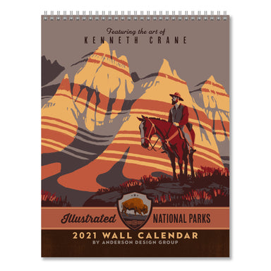 2021 Wall Calendar - National Parks Hanging Monthly Planner with Art by Anderson Design Group - 10x26 Inch Opened - 2021 Wall Calendar - Americanflat