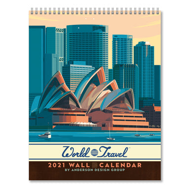 2021 Wall Calendar - World Travel Hanging Monthly Planner by Anderson Design Group - 10x26 Inch Opened - 2021 Wall Calendar - Americanflat