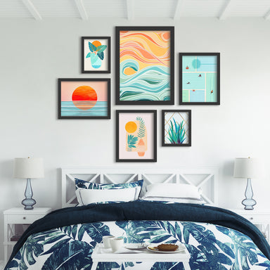 Sky And Sea - 6 Piece Framed Gallery Wall Set - Art Set - Americanflat