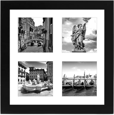 "Collage Picture Frame in Black with Four Displays of 4"" x 4"" MDF and Lead Free Polished Glass for Wall - 10"" x 10"" - Picture Frame - Americanflat"