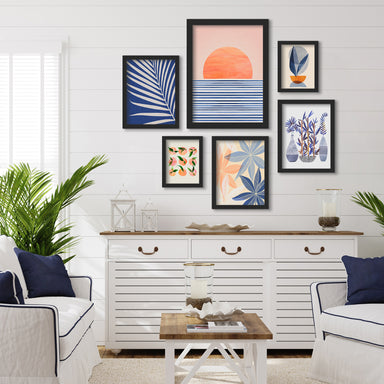 Minimal Sunrise II - 6 Piece Framed Gallery Wall Set - Art Set - Americanflat