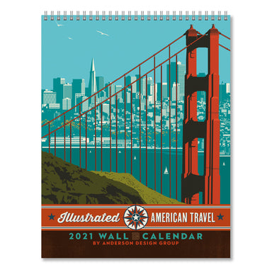 2021 Wall Calendar - American Travel Hanging Monthly Planner by Anderson Design Group - 10x26 Inch Opened - 2021 Wall Calendar - Americanflat