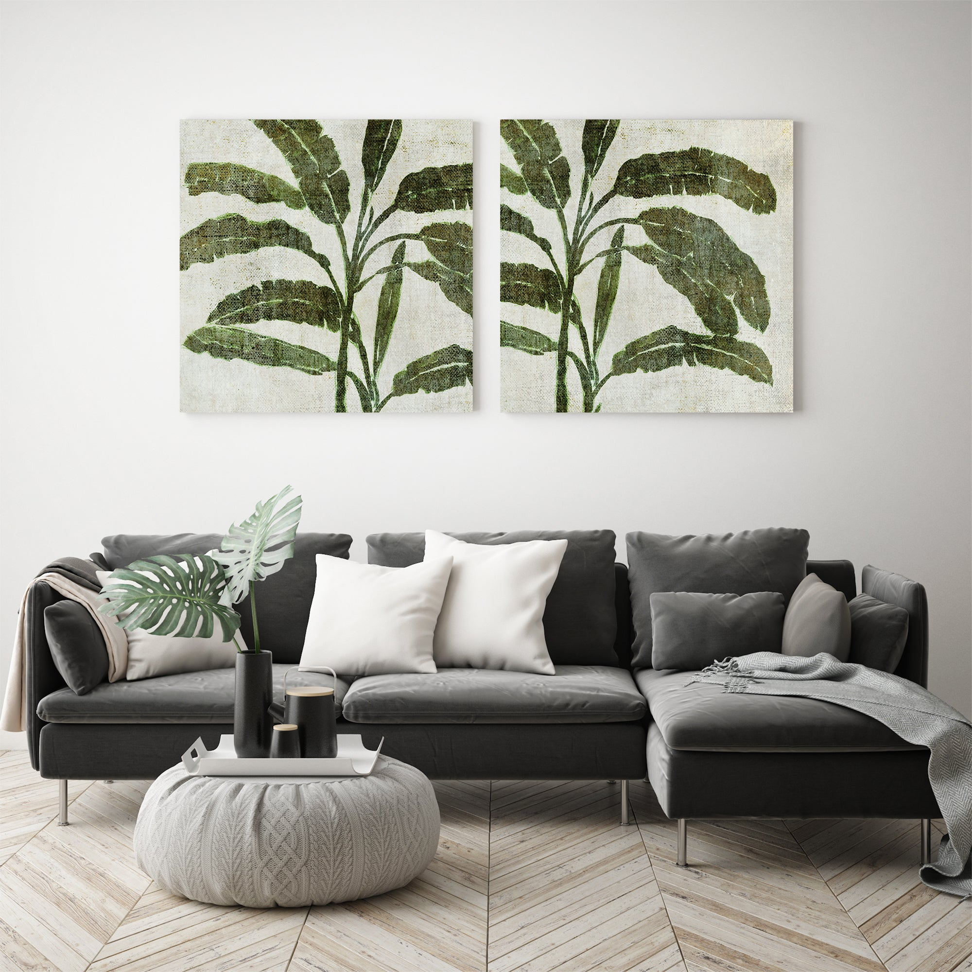 Green Banana Tree by Chaos & Wonder Design - 2 Piece Gallery Wrapped Canvas Set - Art Set - Americanflat