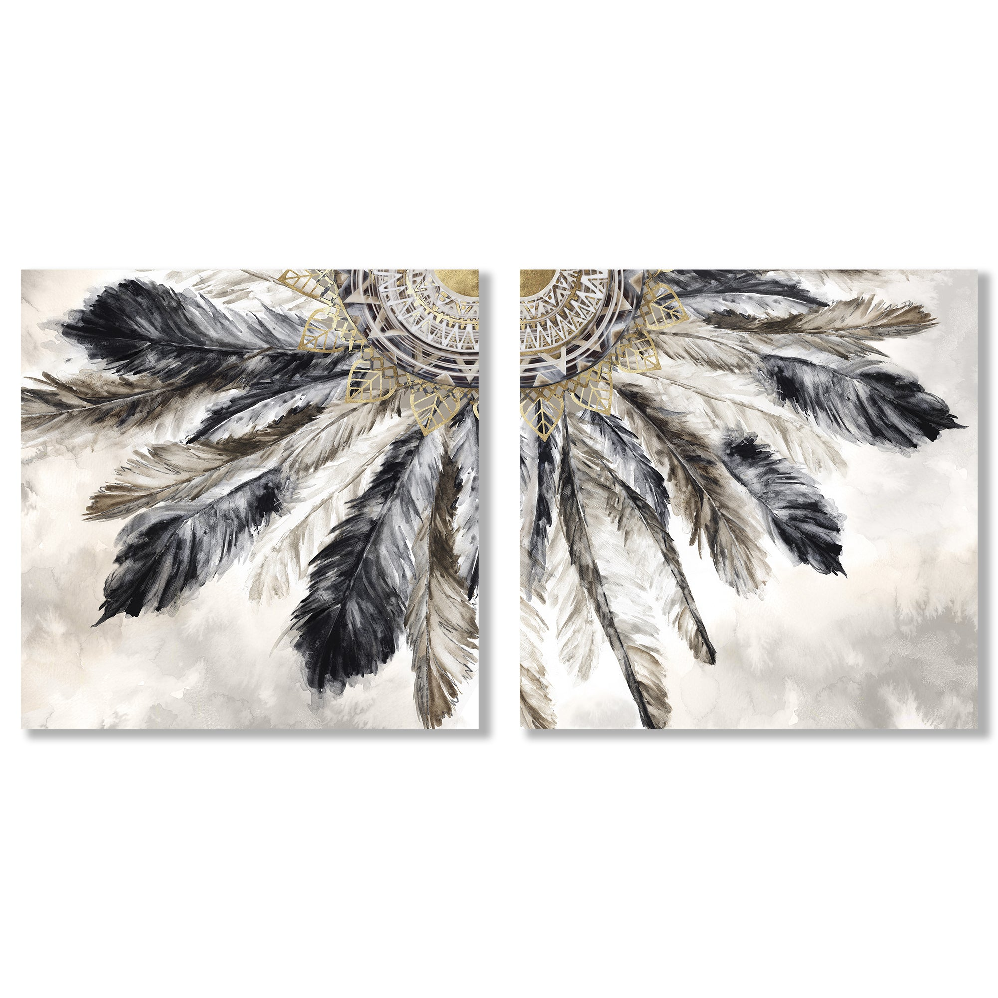 Necklace of Feathers by PI Creative Art - 2 Piece Gallery Wrapped Canvas Set - Art Set - Americanflat