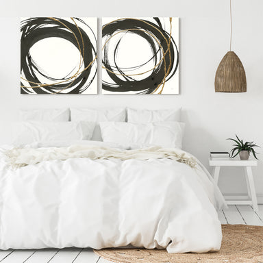 Gilded Enso - 2 Piece Gallery Wrapped Canvas Set by Chris Paschke - Art Set - Americanflat