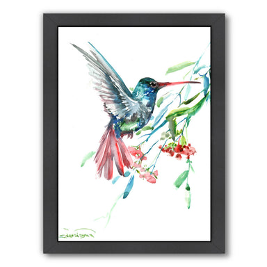 Humming Bird And Flowers by Suren Nersisyan Framed Print - Wall Art - Americanflat
