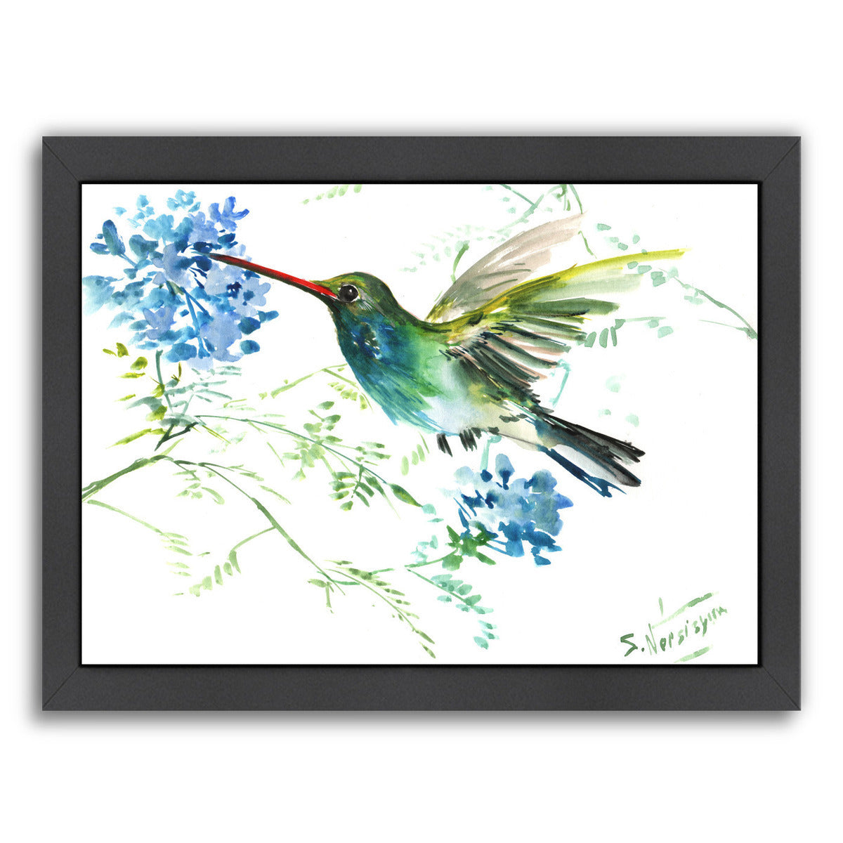 Hummingbird With Blue Flowers By Suren Nersisyan Framed Print Americanflat