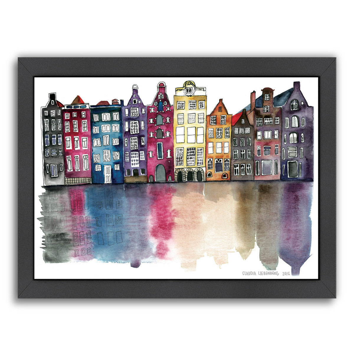 Watercolor Amsterdam by Claudia Liebenberg Framed Print - Americanflat