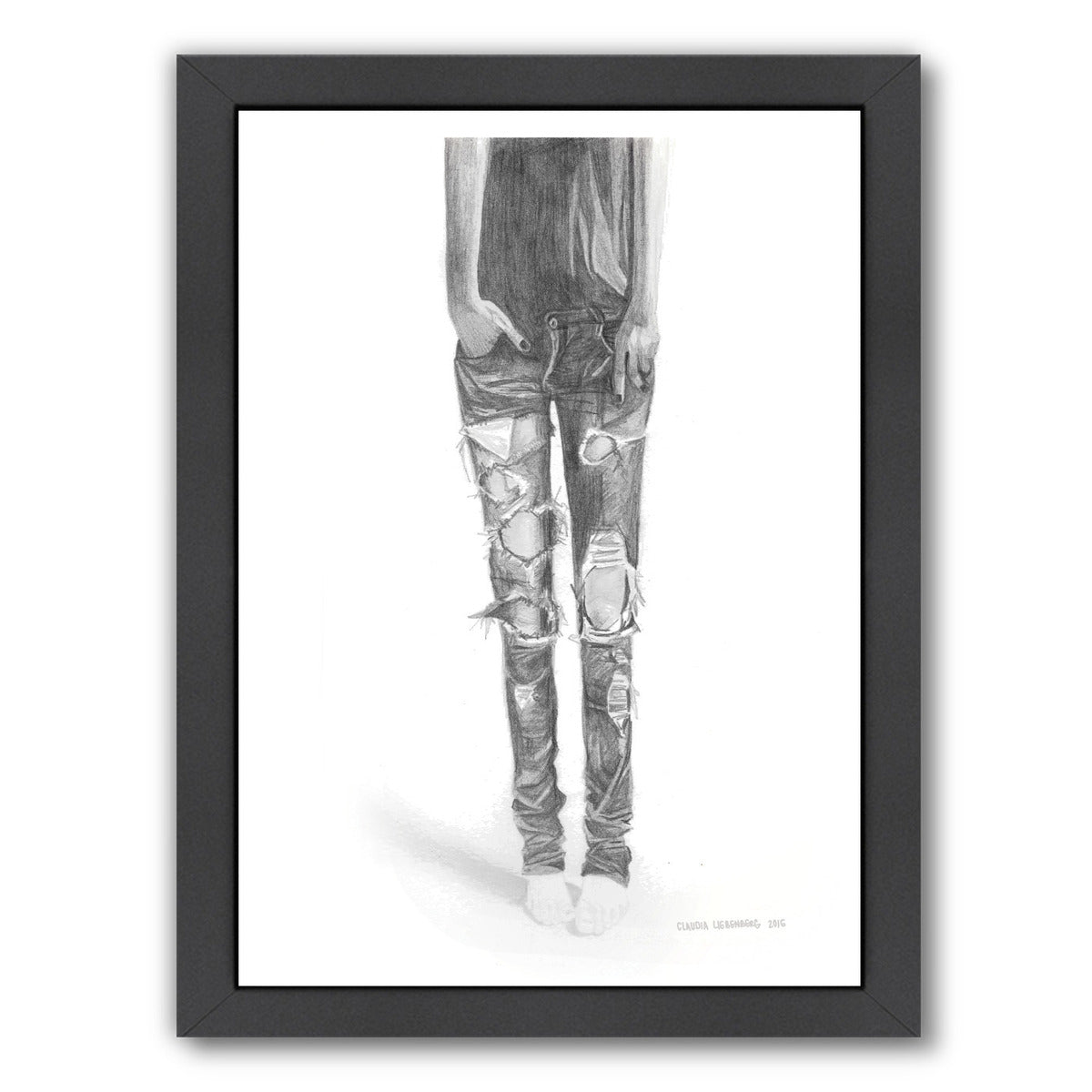 Ripped Jeans by Claudia Liebenberg Framed Print - Wall Art - Americanflat
