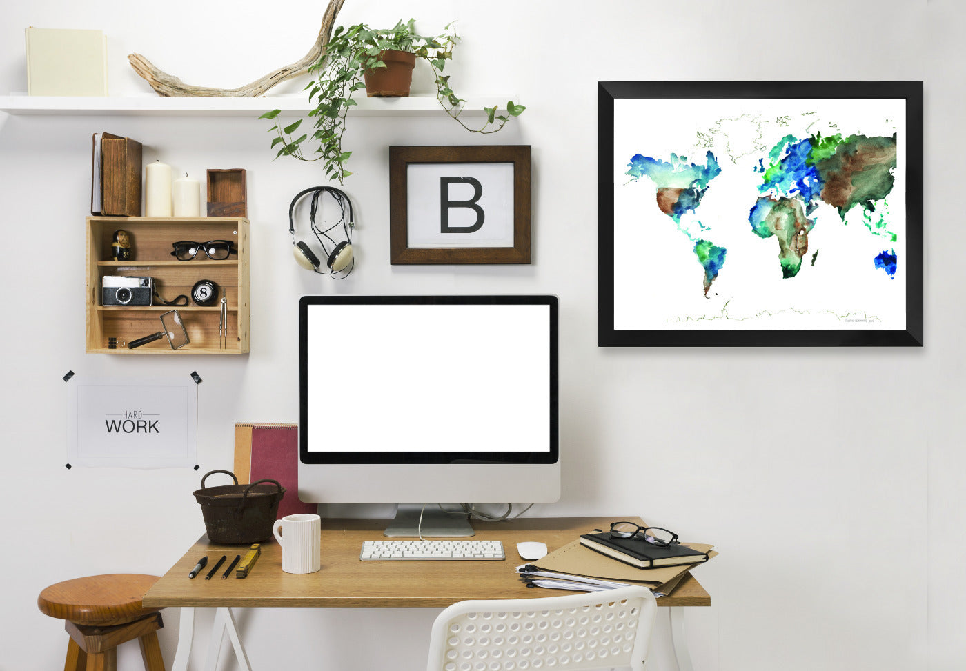 World Map by Claudia Liebenberg Framed Print - Wall Art - Americanflat