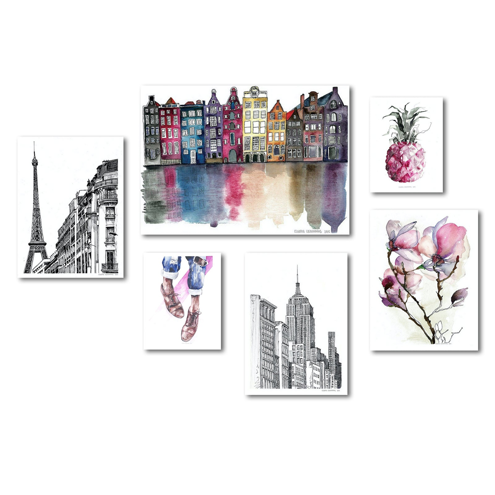 Modern Amsterdam New York Paris Canvas Art Set - Wrapped Canvas - Americanflat