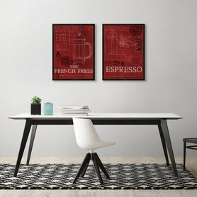 French Press & Espresso by Marco Fabiano - 2 Piece Gallery Wrapped Canvas Set