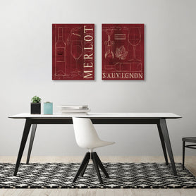 Wine by Marco Fabiano  - 2 Piece Gallery Wrapped Canvas Set