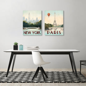 Paris & New York by Marco Fabiano - 2 Piece Gallery Wrapped Canvas Set