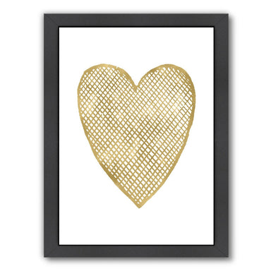 Heart Crosshatched Gold On White by Amy Brinkman Framed Print - Wall Art - Americanflat