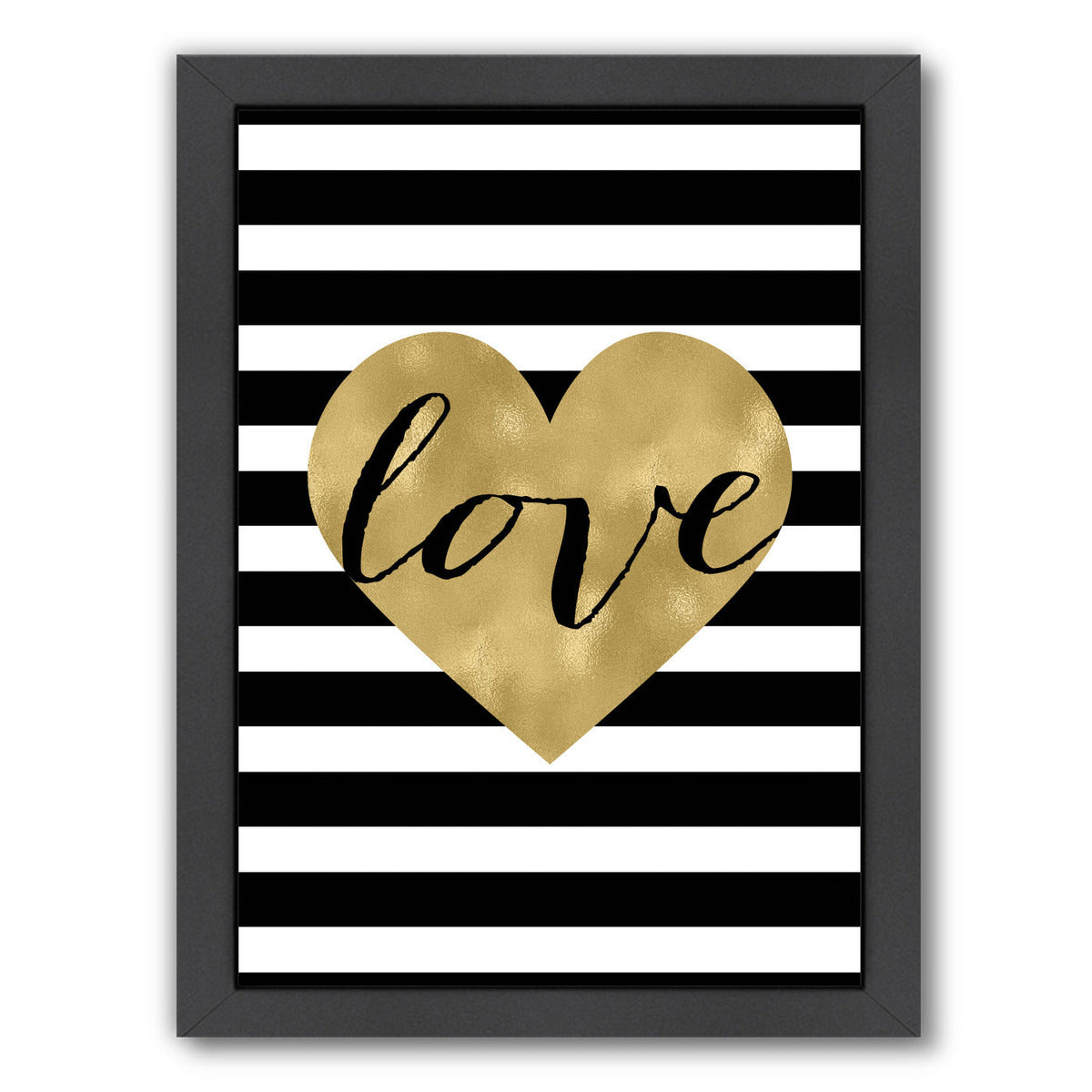 Love Heart White Stripe by Amy Brinkman Framed Print - Wall Art - Americanflat