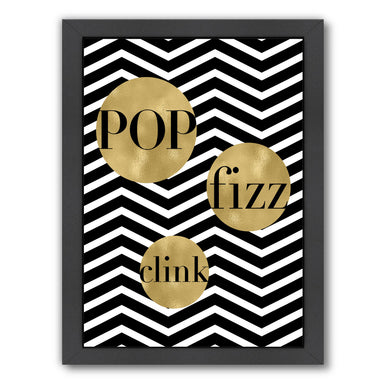 Pop Fizz Clink White Chevron by Amy Brinkman Framed Print - Americanflat