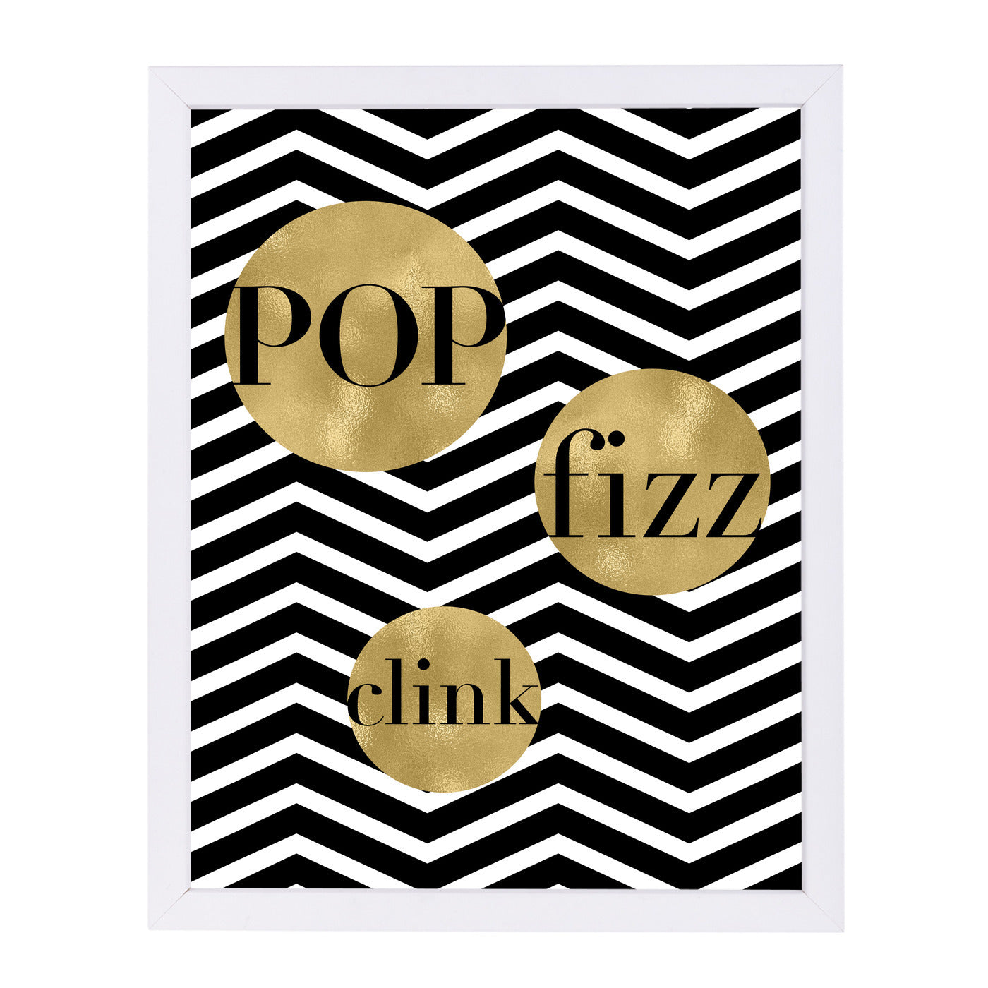 Pop Fizz Clink White Chevron by Amy Brinkman Framed Print - Wall Art - Americanflat