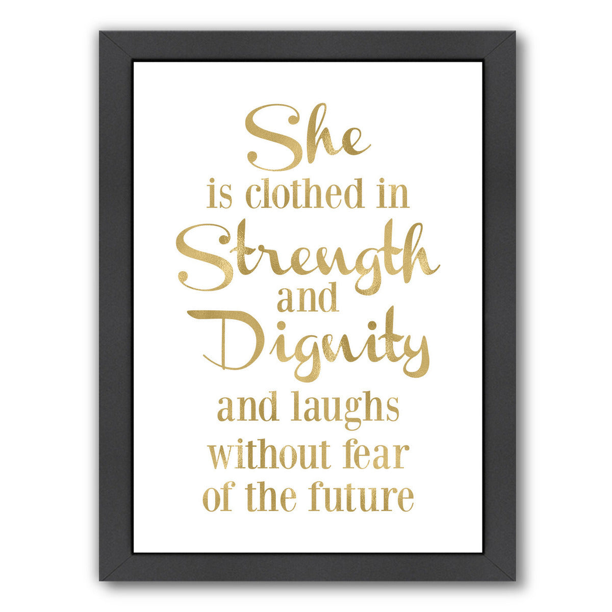 She Is Clothed Strength Gold On White by Amy Brinkman Framed Print - Wall Art - Americanflat