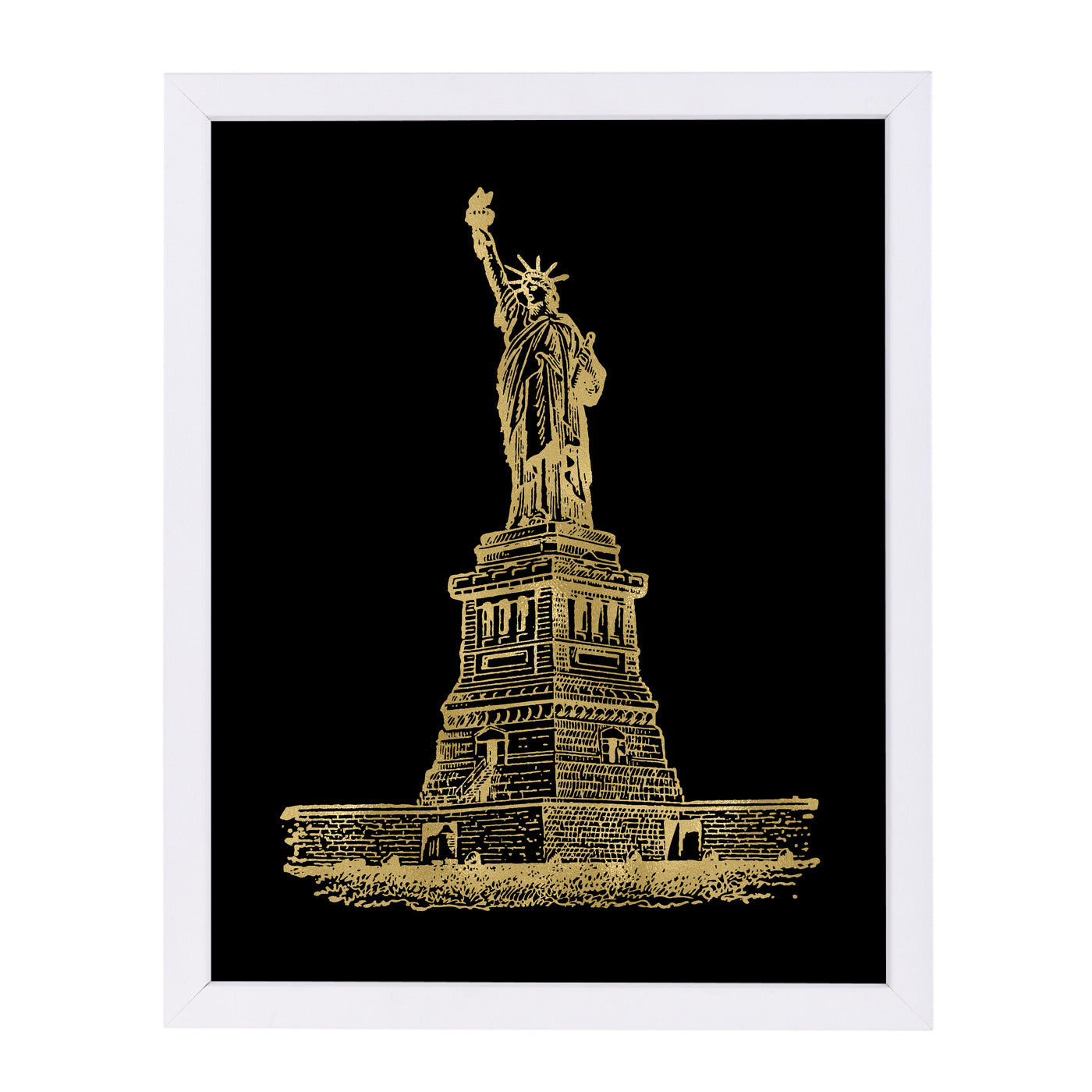 Statue Of Liberty Gold On by Amy Brinkman Framed Print - Wall Art - Americanflat