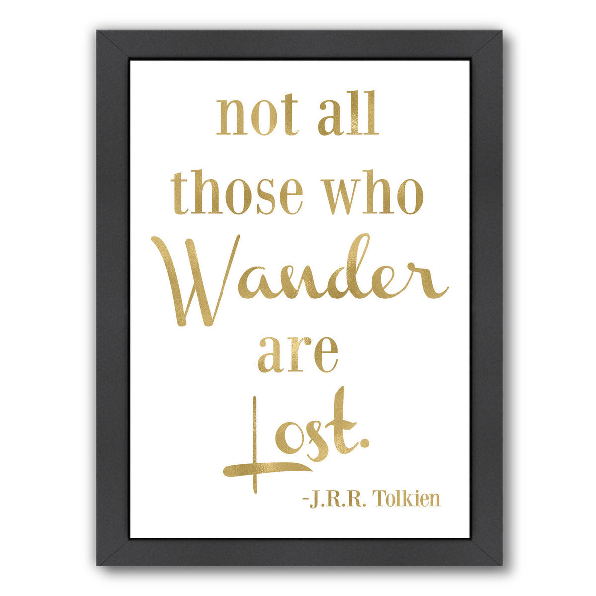 Wander Lost Gold On White by Amy Brinkman Framed Print - Wall Art - Americanflat