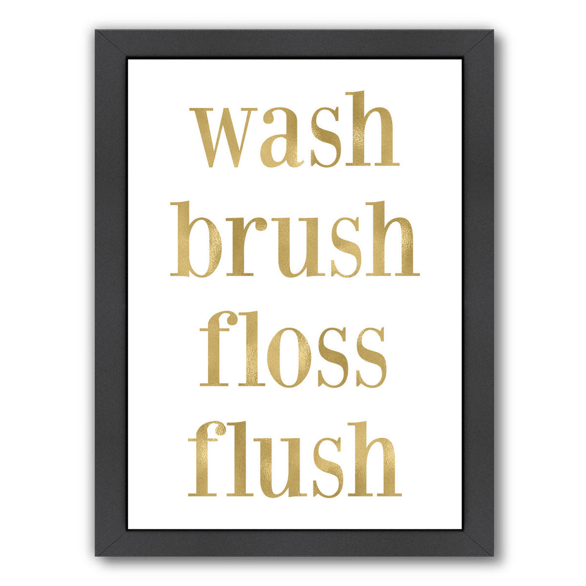 Wash Brush Floss Gold On White by Amy Brinkman Framed Print - Wall Art - Americanflat