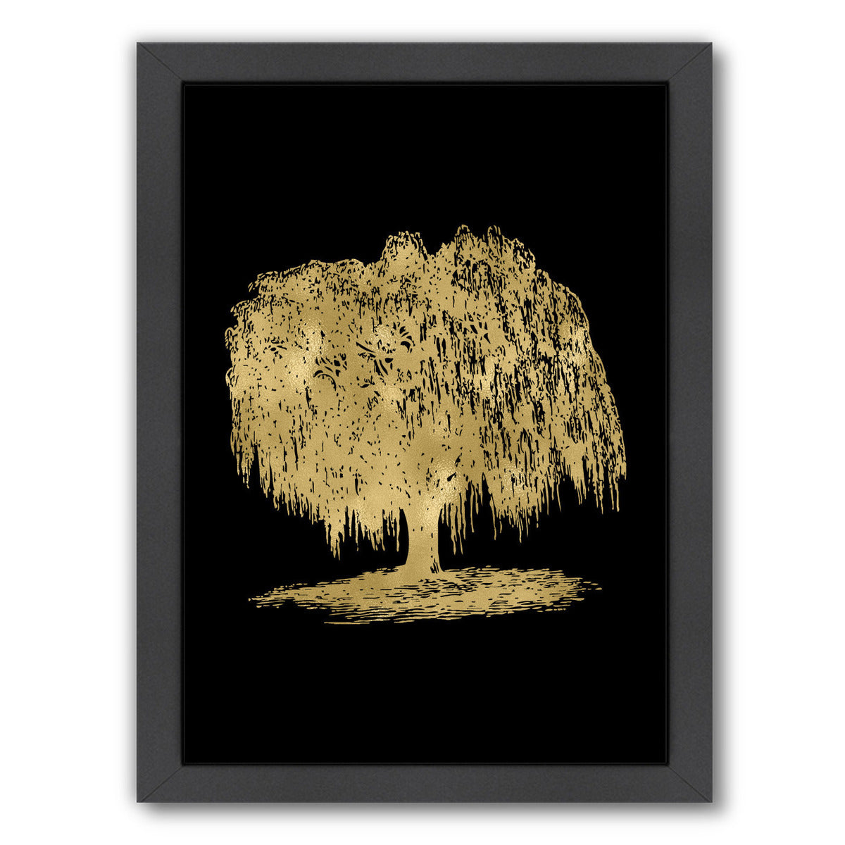 Weeping Willow Tree Gold On by Amy Brinkman Framed Print - Wall Art - Americanflat