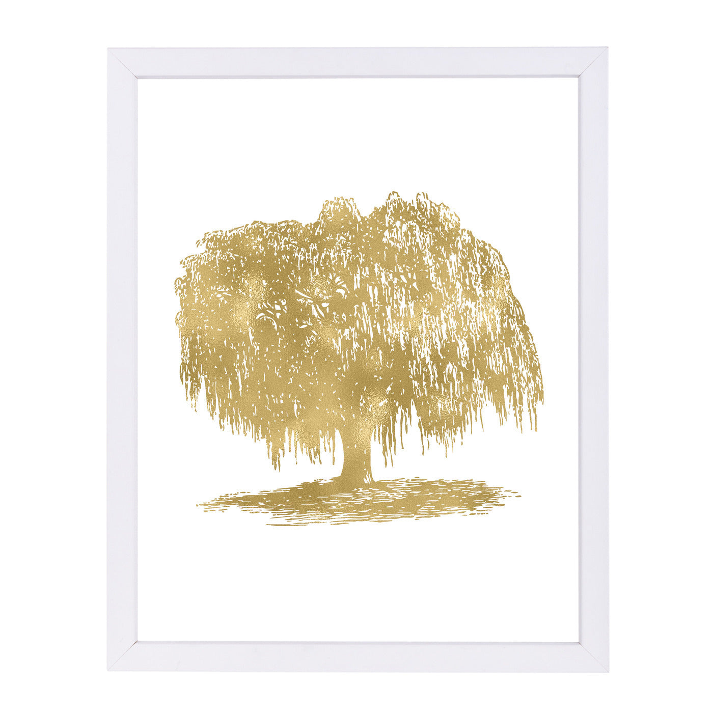 Weeping Willow Tree Gold On White by Amy Brinkman Framed Print - Wall Art - Americanflat