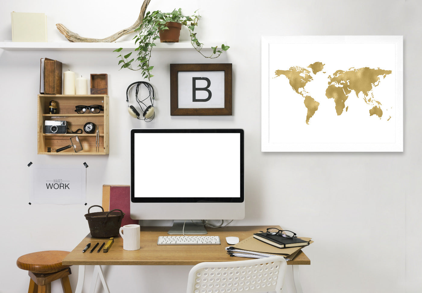 World Map Gold On White by Amy Brinkman Framed Print - Wall Art - Americanflat