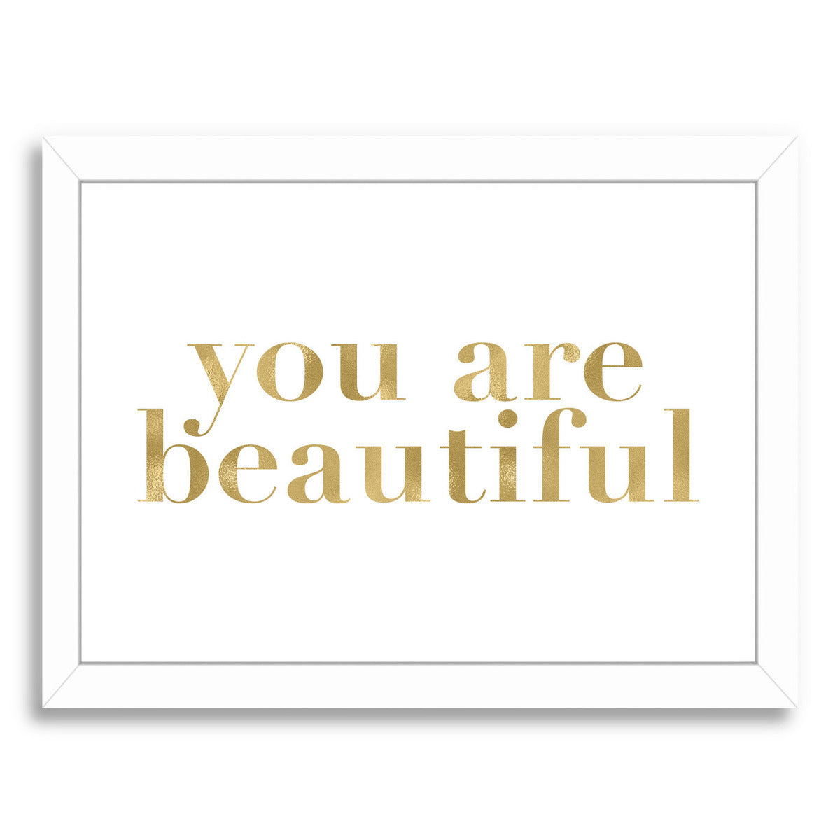 You Are Beautiful Gold On White by Amy Brinkman Framed Print - Wall Art - Americanflat