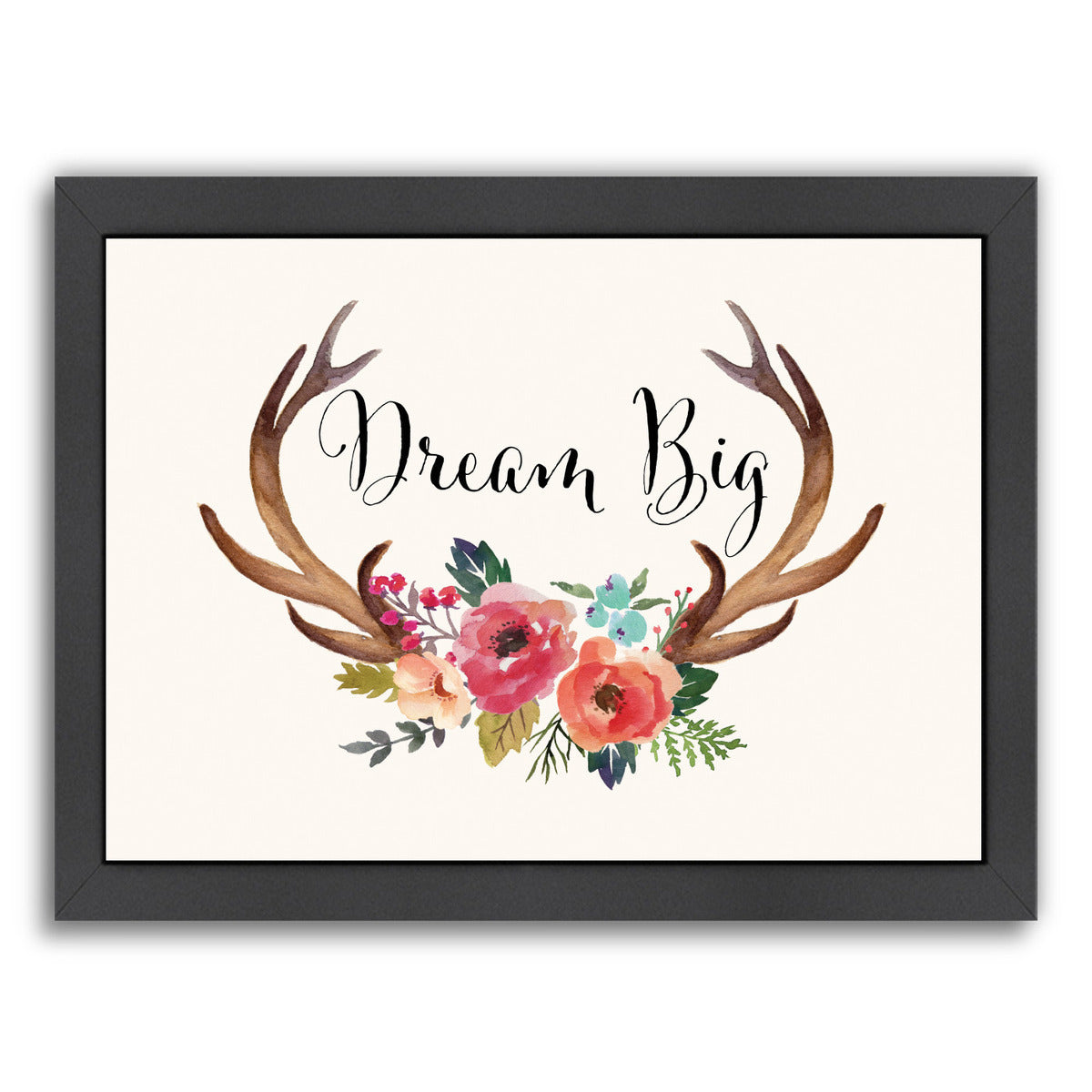 Dream Big Antlers Cream by Amy Brinkman Framed Print - Wall Art - Americanflat