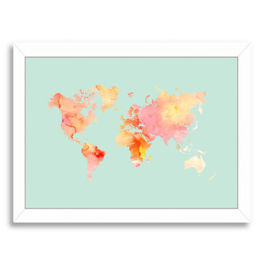 World Map Pastel Watercolor by Amy Brinkman White Framed Print - Wall Art - Americanflat