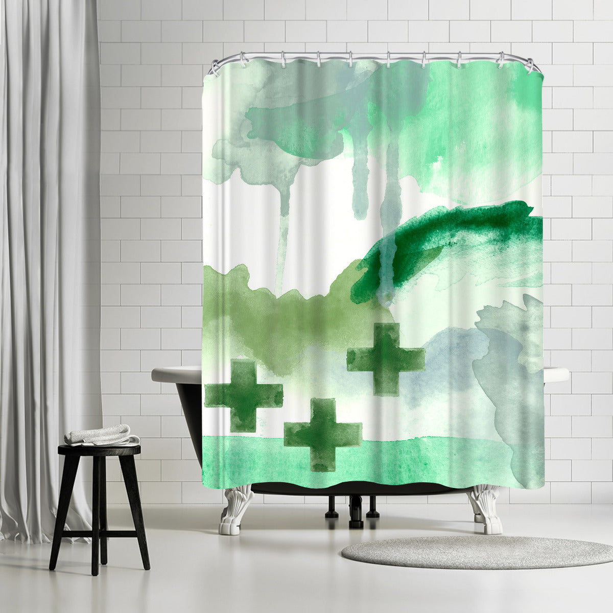 Faith Green by Amy Brinkman Shower Curtain -  - Americanflat