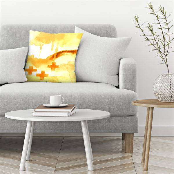 Faith Yellow by Amy Brinkman Decorative Pillow