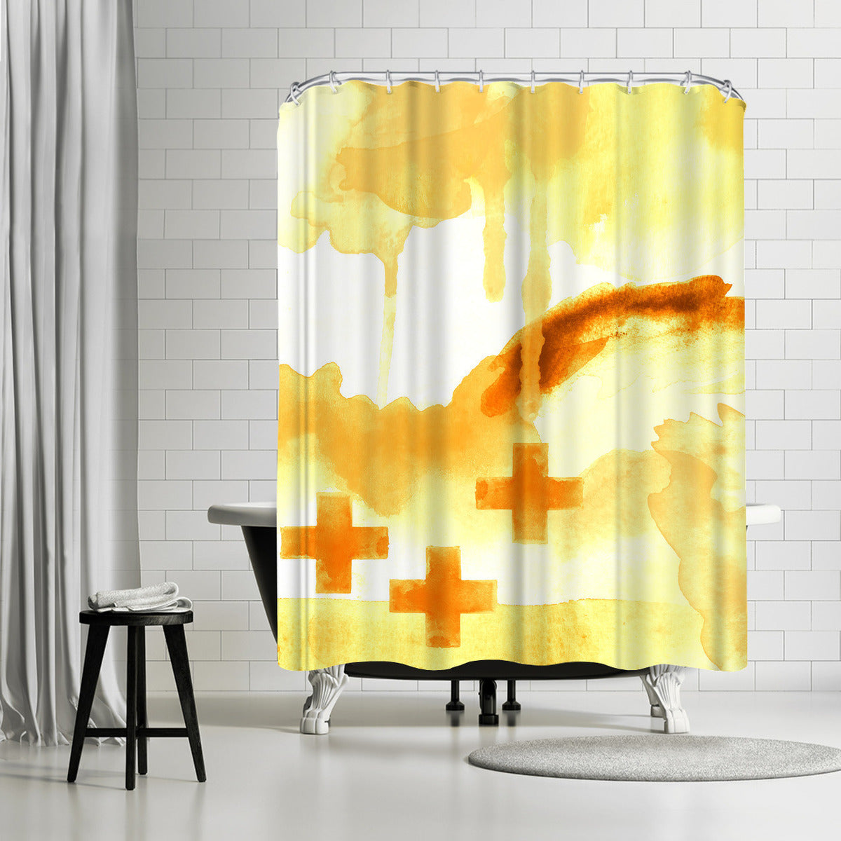 Faith Yellow by Amy Brinkman Shower Curtain -  - Americanflat