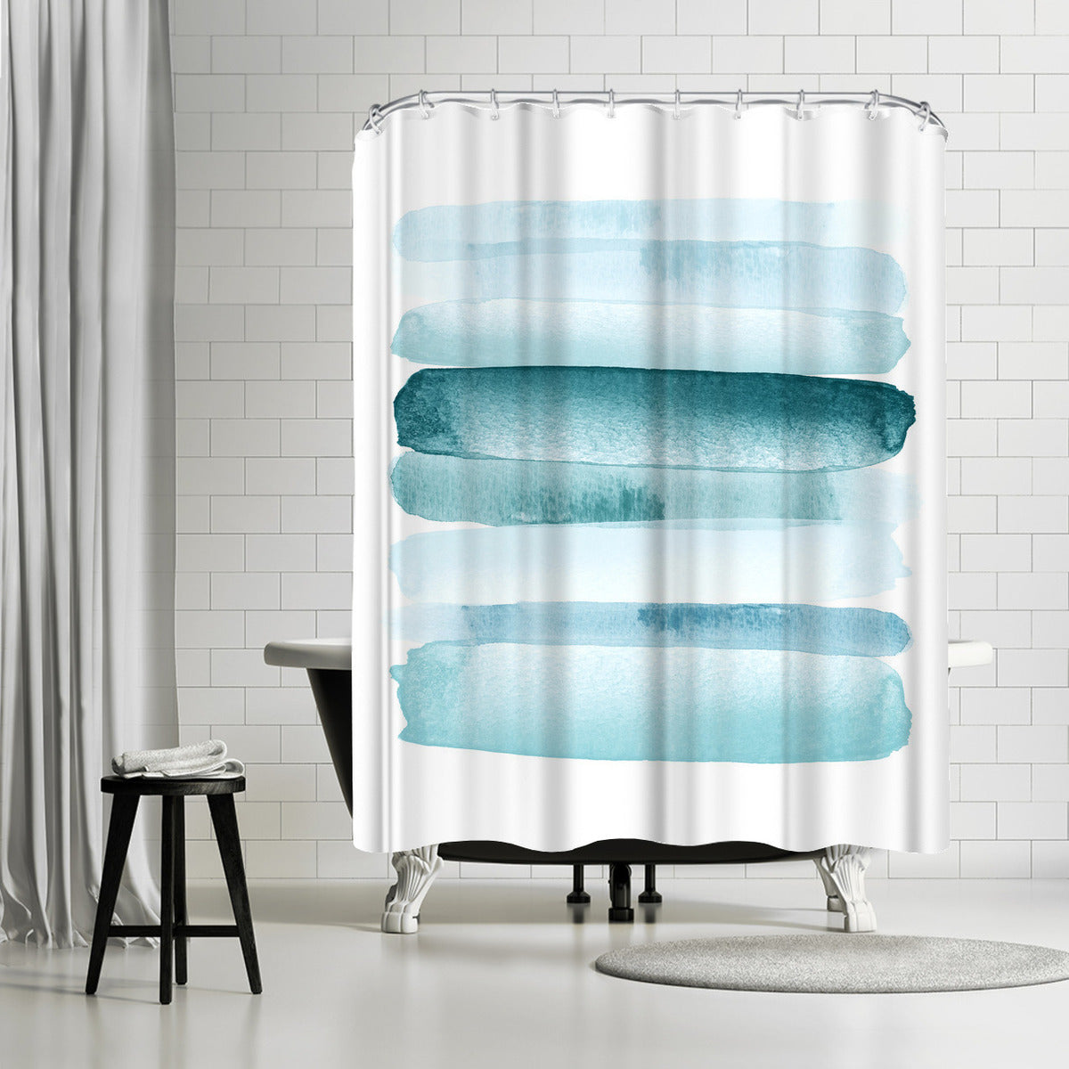 Move Forward Blue by Amy Brinkman Shower Curtain -  - Americanflat