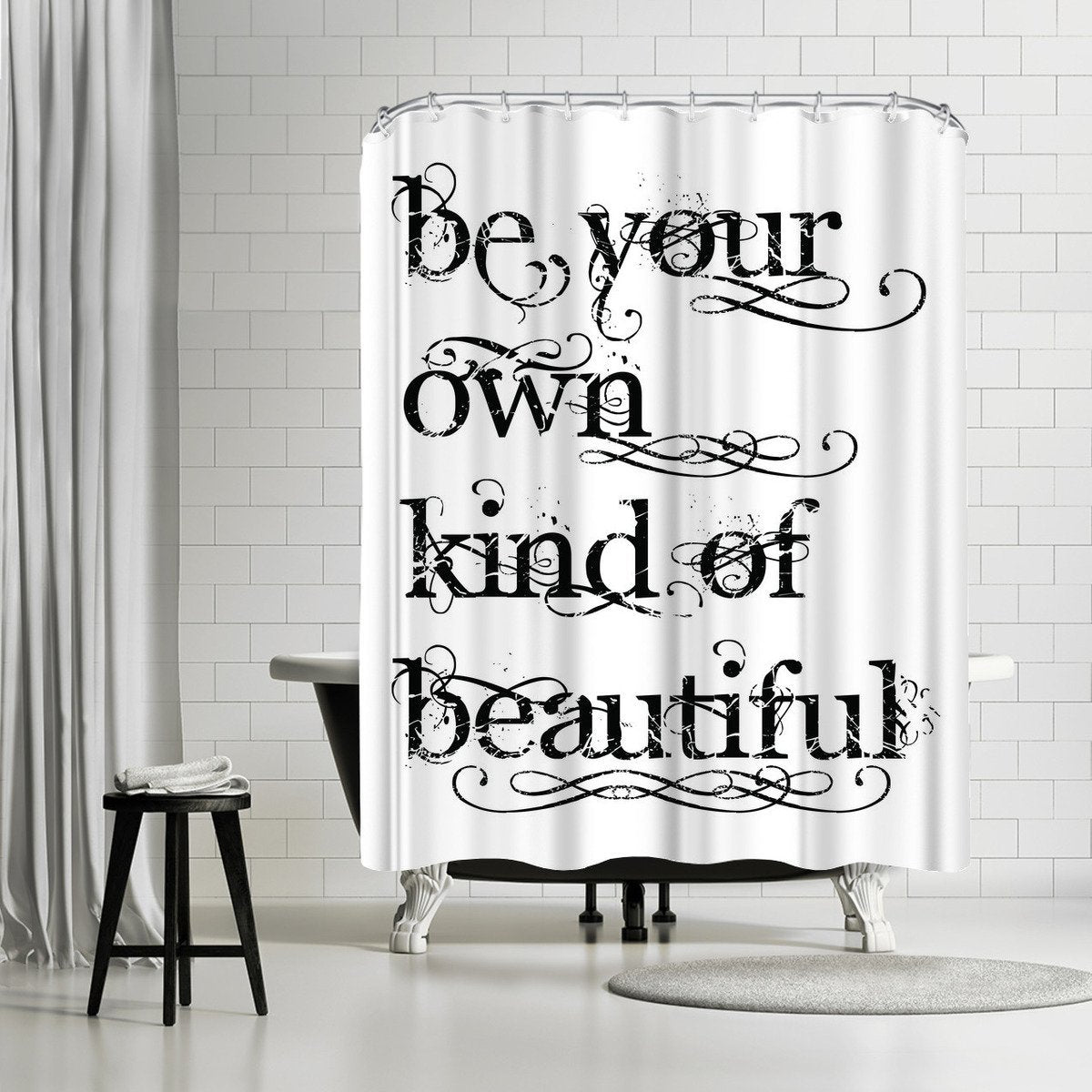 Be Own Beautiful Black by Amy Brinkman Shower Curtain - Shower Curtain - Americanflat