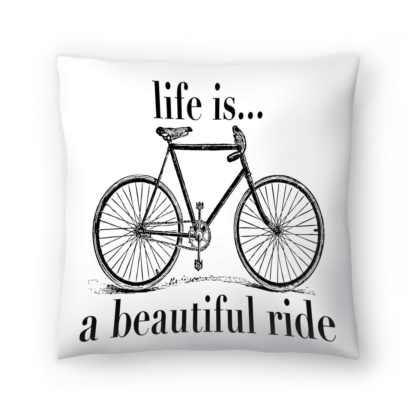 Bicycle Life Is Beautiful Ride Black by Amy Brinkman Decorative Pillow - Decorative Pillow - Americanflat