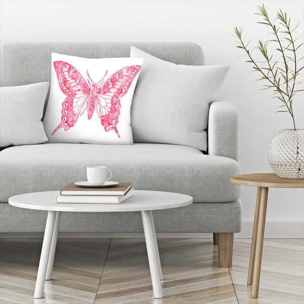 Butterfly 2 Pink Watercolor by Amy Brinkman Decorative Pillow