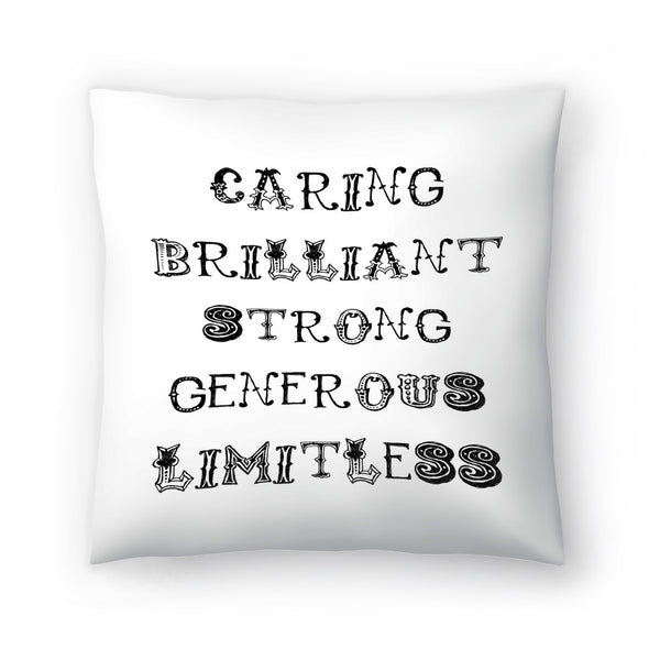 Caring Brilliant Black  by Amy Brinkman Decorative Pillow