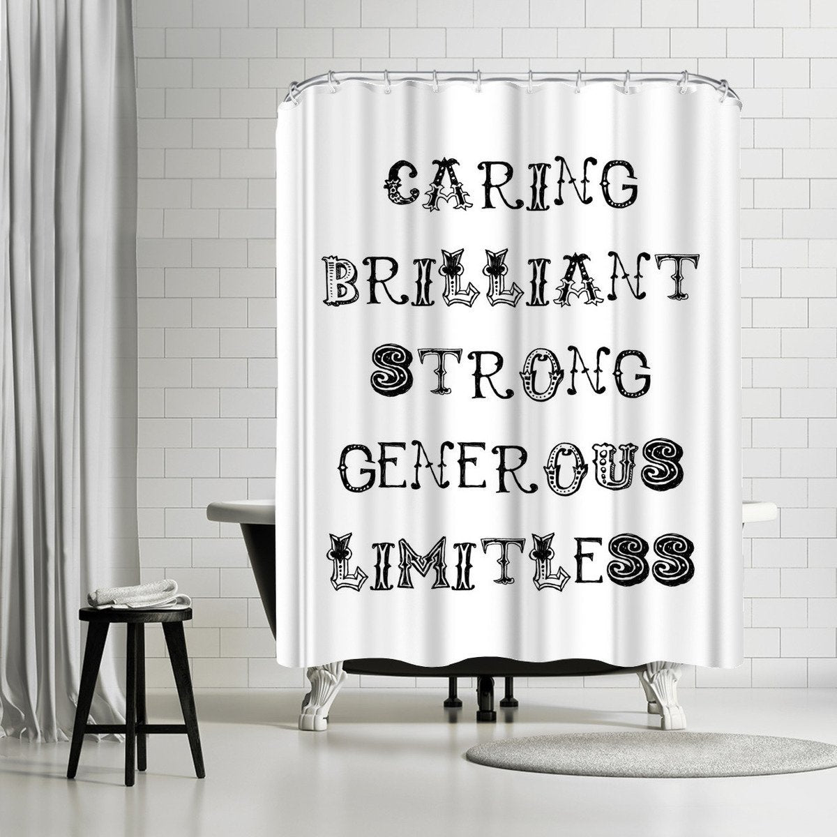 Caring Brilliant Black  by Amy Brinkman Shower Curtain - Shower Curtain - Americanflat